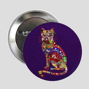"Patchwork Cat 2.25"" Button"