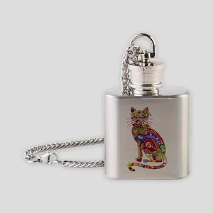 Patchwork Cat Flask Necklace