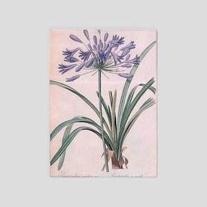 vintage botanical art, elegant purp 5'x7'Area Rug