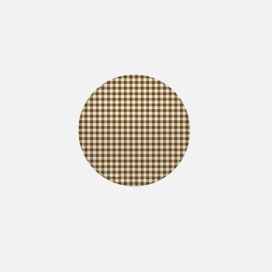 Brown Gingham Mini Button