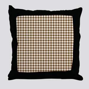 Brown Gingham Throw Pillow