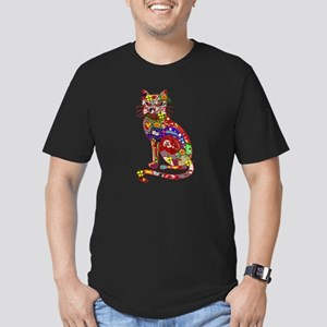 Patchwork Cat Men's Fitted T-Shirt (dark)
