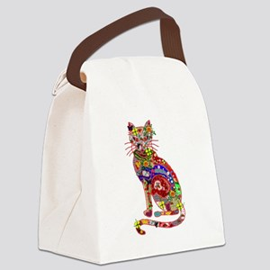 Patchwork Cat Canvas Lunch Bag