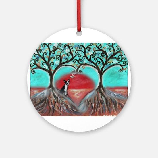 Boston Terrier Tree of Life Hearts 2 Ornament (Rou