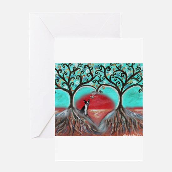 Boston Terrier Tree of Life Hearts 2 Greeting Card