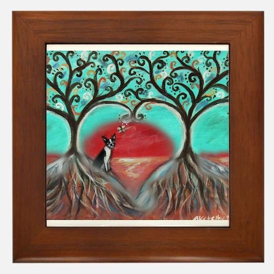 Boston Terrier Tree of Life Hearts 2 Framed Tile
