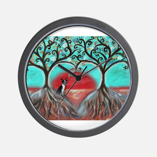 Boston Terrier Tree of Life Hearts 2 Wall Clock