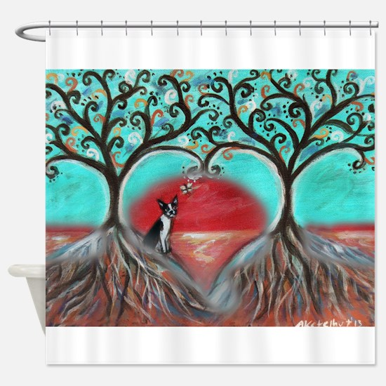 Boston Terrier Tree of Life Hearts 2 Shower Curtai