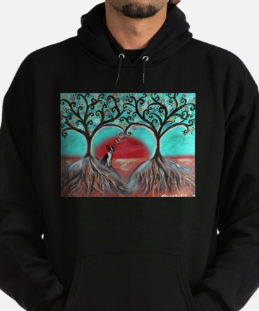 Boston Terrier Tree of Life Hearts 2 Hoodie