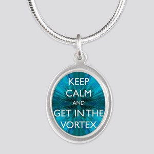 Keep Calm & Get in the Vortex Silver Oval Necklace