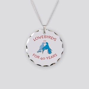 40th Anniversary Lovebirds Necklace Circle Charm