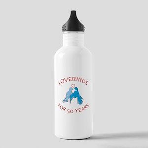 50th Anniversary Lovebirds Stainless Water Bottle