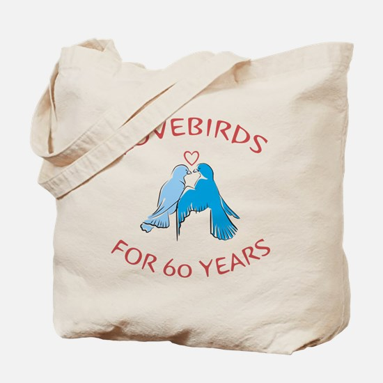 60th Anniversary Lovebirds Tote Bag