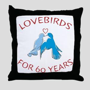 60th Anniversary Lovebirds Throw Pillow