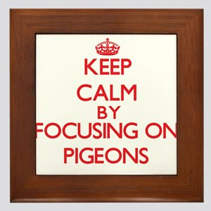 Keep calm by focusing on Pigeons Framed Tile