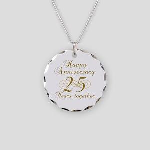 25th Anniversary (Gold Script) Necklace Circle Cha