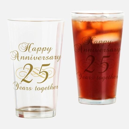 25th Anniversary (Gold Script) Drinking Glass