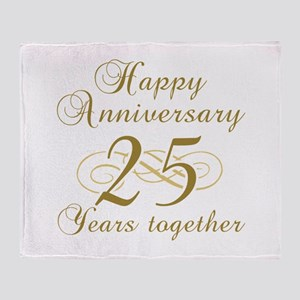 25th Anniversary (Gold Script) Throw Blanket