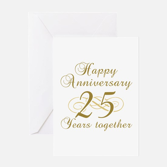 25th Anniversary (Gold Script) Greeting Card