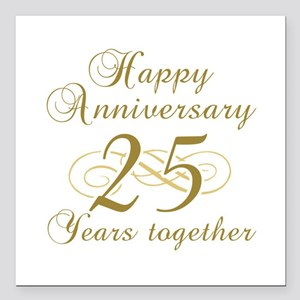 25th Anniversary (Gold Script) Square Car Magnet 3
