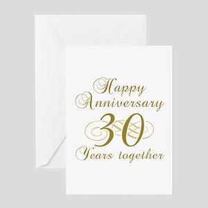 30th Anniversary (Gold Script) Greeting Card