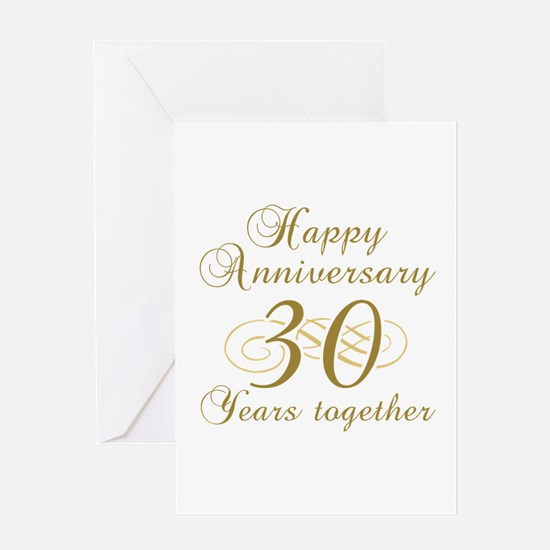 30th Anniversary (Gold Script) Greeting Card