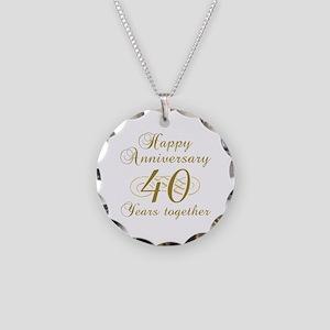 40th Anniversary (Gold Script) Necklace Circle Cha