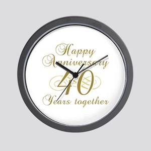 40th Anniversary (Gold Script) Wall Clock