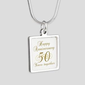 50th Anniversary (Gold Script) Silver Square Neckl