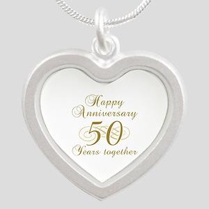50th Anniversary (Gold Script) Silver Heart Neckla