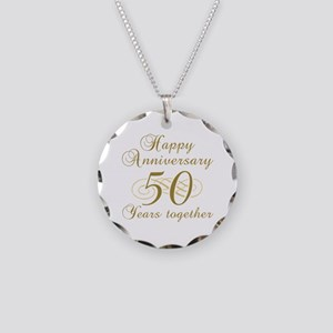 50th Anniversary (Gold Script) Necklace Circle Cha