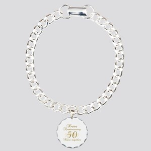 50th Anniversary (Gold Script) Charm Bracelet, One