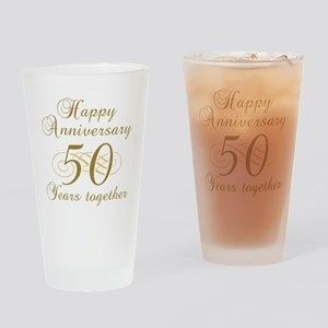 50th Anniversary (Gold Script) Drinking Glass