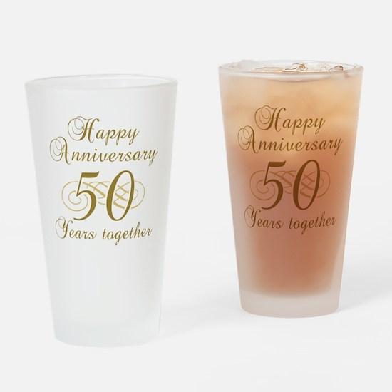 50th Anniversary (Gold Script) Drinking Glass