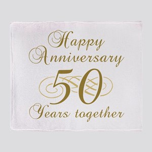 50th Anniversary (Gold Script) Throw Blanket