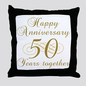 50th Anniversary (Gold Script) Throw Pillow