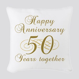 50th Anniversary (Gold Script) Woven Throw Pillow