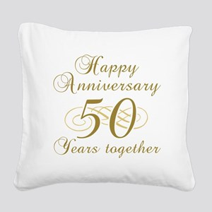 50th Anniversary (Gold Script) Square Canvas Pillo