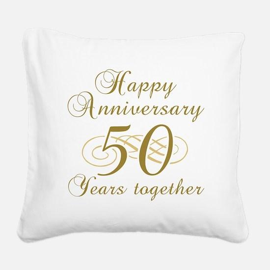 50th Anniversary (Gold Script) Square Canvas Pillo
