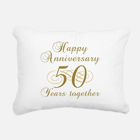 50th Anniversary (Gold Script) Rectangular Canvas