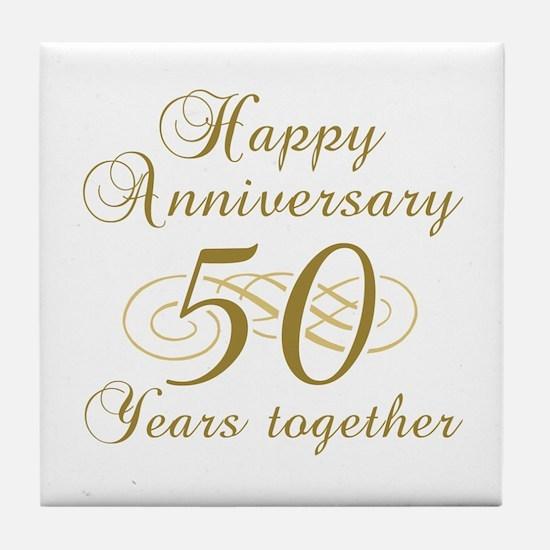 50th Anniversary (Gold Script) Tile Coaster