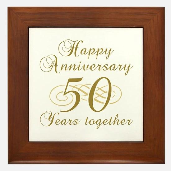 50th Anniversary (Gold Script) Framed Tile