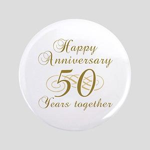 """50th Anniversary (Gold Script) 3.5"""" Button"""