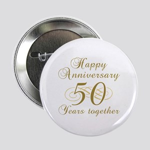 """50th Anniversary (Gold Script) 2.25"""" Button"""