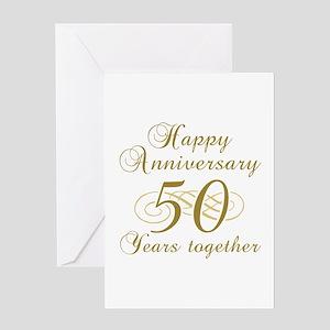 50th wedding anniversary greeting cards cafepress 50th anniversary gold script greeting card m4hsunfo