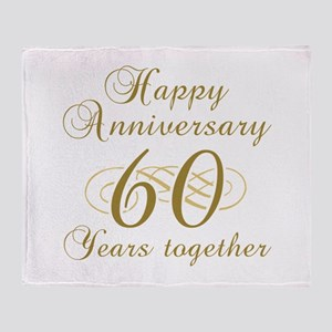 60th Anniversary (Gold Script) Throw Blanket