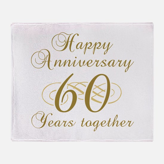 60th Anniversary (Gold Script) Throw Blanket