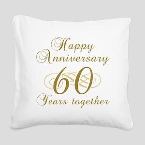60th Anniversary (Gold Script) Square Canvas Pillo