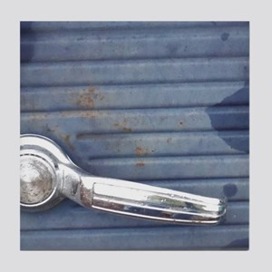 Silver Door handle, Old Blue Truck do Tile Coaster