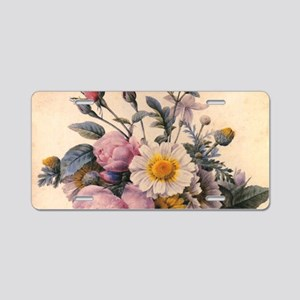 vintage botanical art, beau Aluminum License Plate
